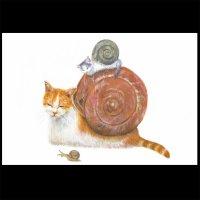 ポストカード【猫でんでん1】2枚セット