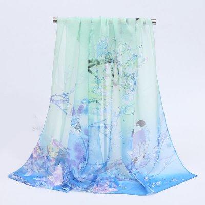 【輸入シフォンスカーフ】花鳥楽園(ブルー) シノワズリ風