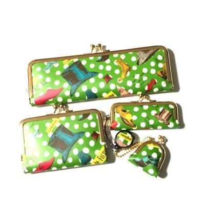 ちびがまぐち(丸型)&印鑑ケース&カードケース&ペンケース4点セット グリーン