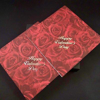 【バレンタインをゴージャスに!】箔押しバレンタインペーパーナプキン 50枚(縦横22cm)