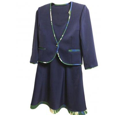 【Aラインタイプ】ウズベキスタンの伝統模様/アトラス/オーダーメイド/春のワンピース&ジャケット