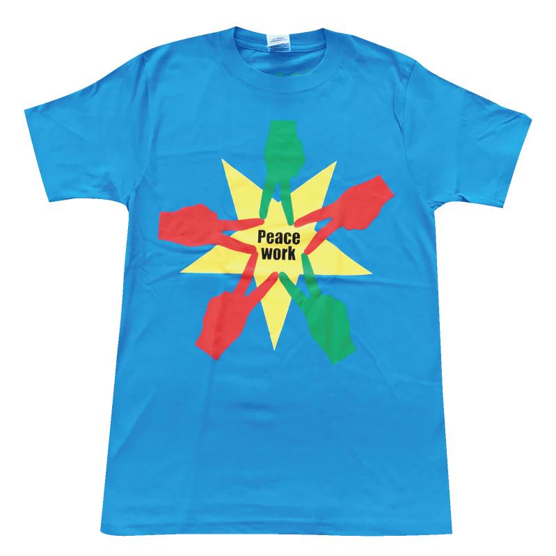 PeaceWorkTシャツ水色