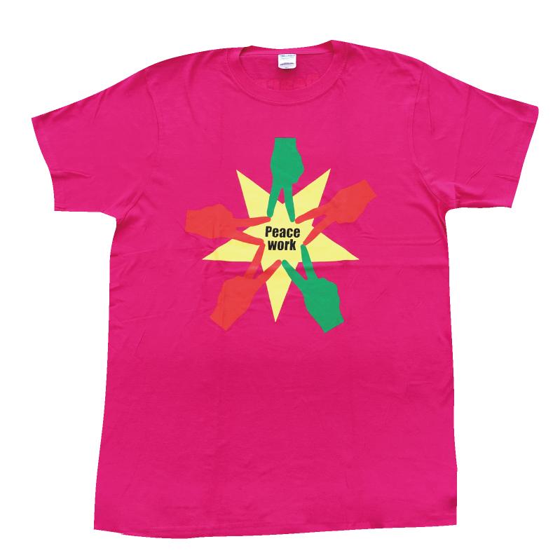 PeaceWorkTシャツ濃ピンク